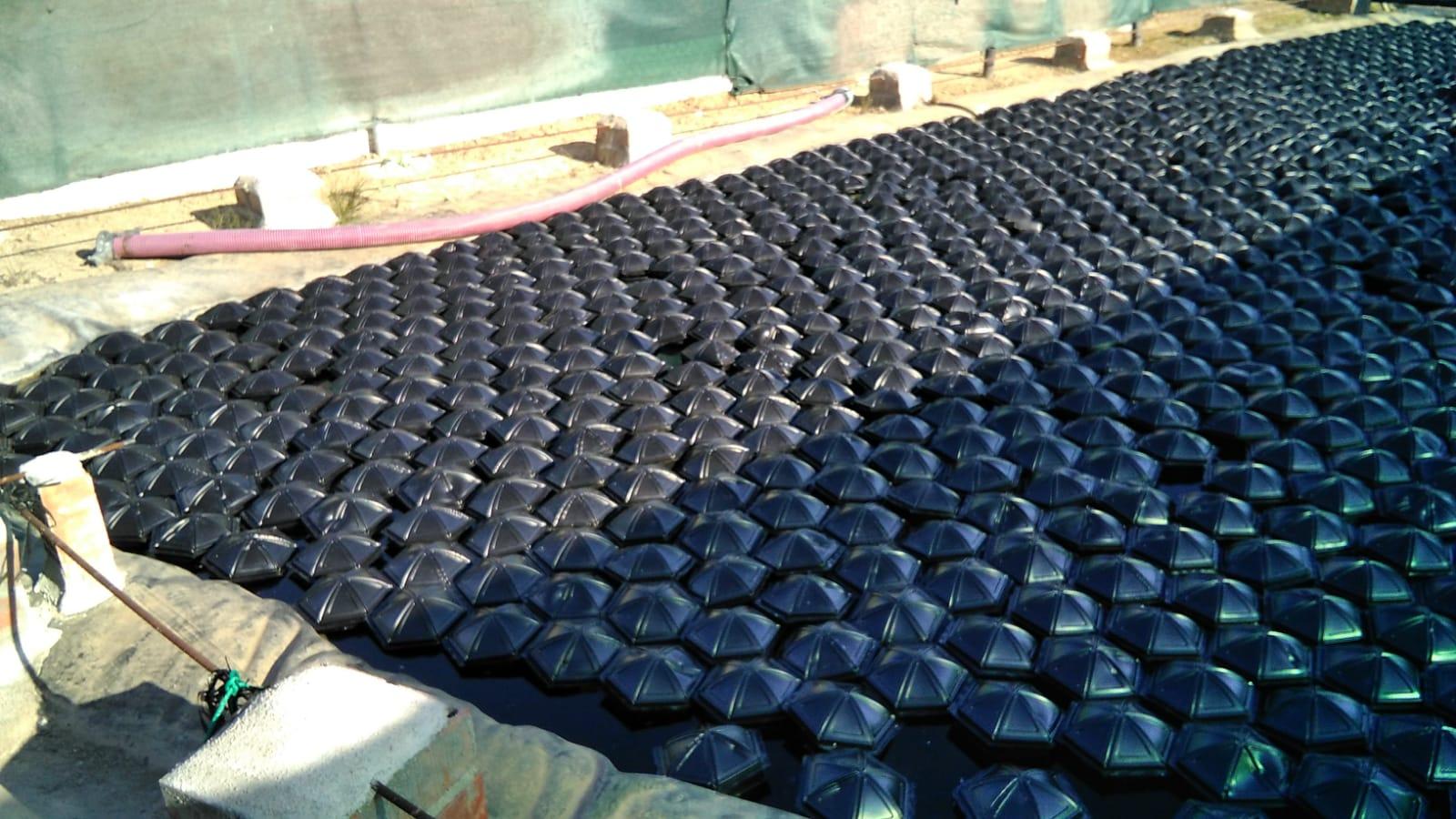 cubrición balsa de riego